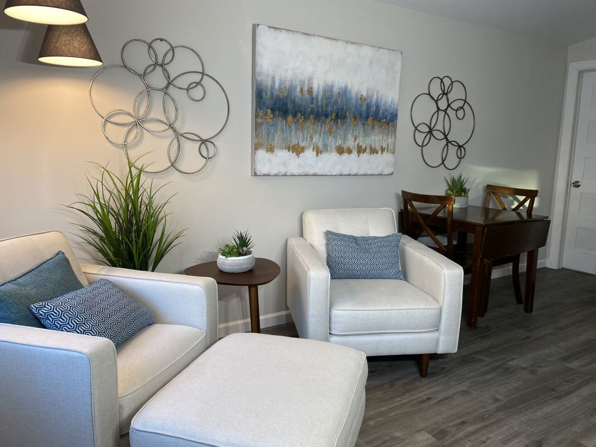 Living Room Seating Area and Dining Table